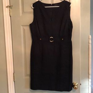 Tahari ASL Deep Navy Sleeveless Dress